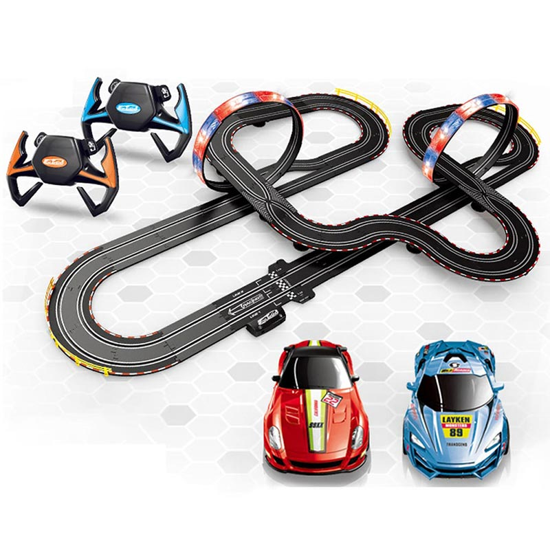 ATTOP 1:43 Race Track DIY Remote Control Kids Car Electric handle control Racing Car Track Model Toy Railway Racing Track Road