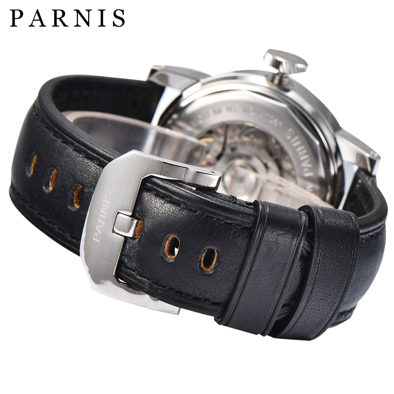 43mm Parnis SeaGull Czarny zegarek automatyczny Power Reserve / GMT - Męskie zegarki - Zdjęcie 6