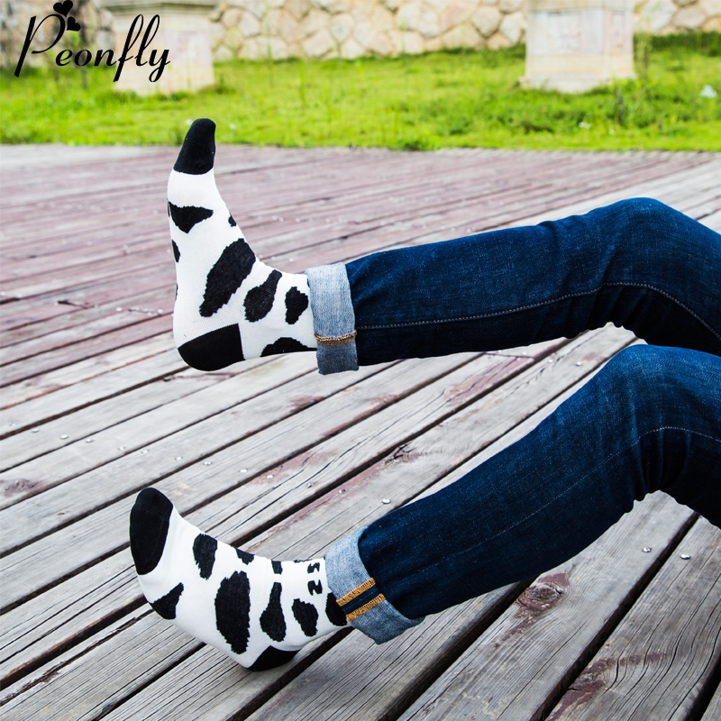 high Quality Harajuku Cow pattern Style Socks For Mens Cotton Hip Hop Socks Man Mens 5 Pa irs/lot