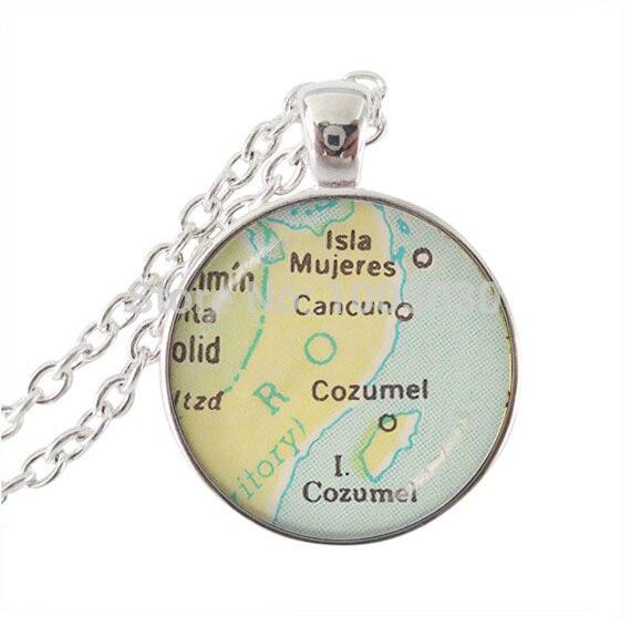 dddfcda3fd4 Cancun Cozumel mapa colar de pingente mapa jóias de prata cadeia longa  declaração colar cabochon de vidro pingentes colares jóias