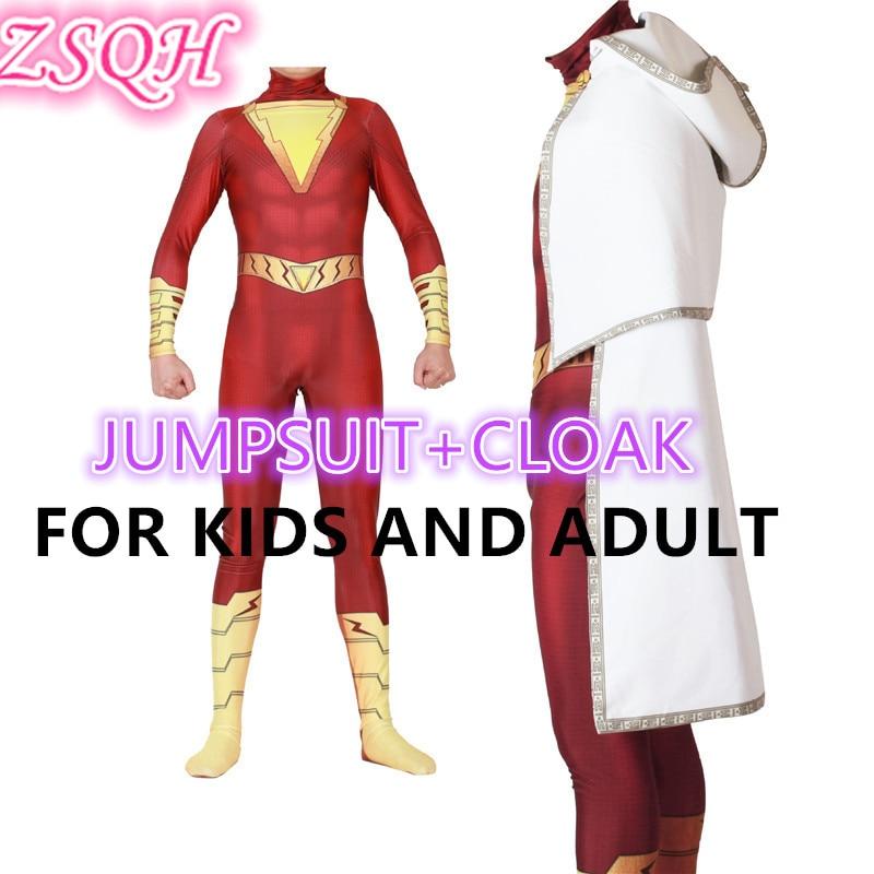 ZSQH Shazam Billy Batson Superhero Party Jumpsuit Bodysuit Costume Cosplay Costume Bodysuit Cute Shazam disfraz adulto For Kids