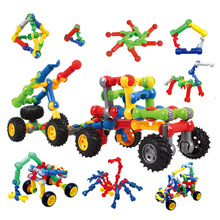 DIY berwarna-warni kognitif pengangkutan marmar menjalankan paip plastik mosaik kereta blok mainan kanak-kanak tadika teka-teki mainan