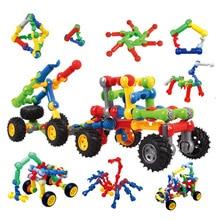 DIY ที่มีสีสันองค์ความรู้การขนส่งหินอ่อนวิ่งท่อพลาสติกโมเสครถบล็อกของเล่นเด็กอนุบาลปริศนาของเล่น