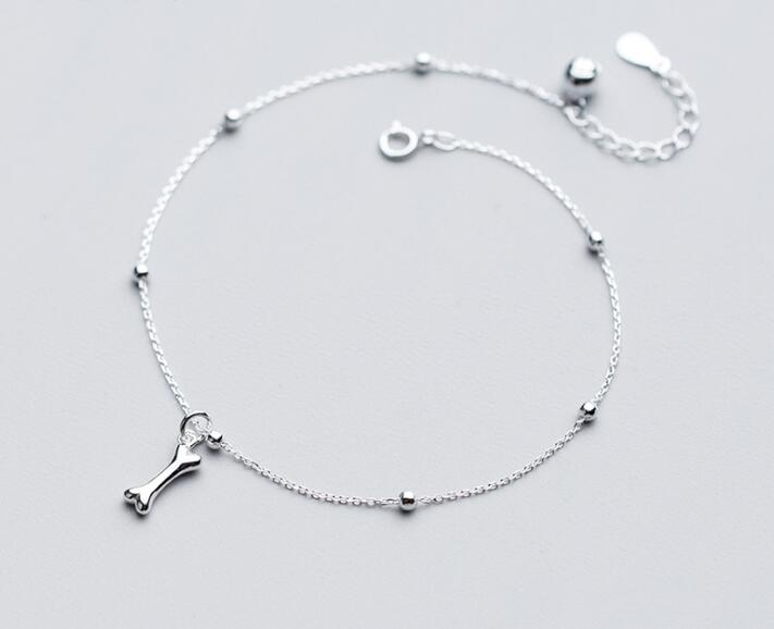 100% Real. 925 Sterling Silver Fine Jewelry DOG Puppy Bone & Lucky Beads Round anklet Bracelet GTLS636