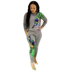 Женский спортивный костюм, с длинным рукавом, расшитый блестками, с рисунком павлина, толстовка + штаны, модный, Сексапильный, из двух предметов, B9056