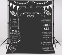 Custom Wedding Blackboard Name Date Photocall Photography Vinyl Cloth Computer Printed Chalk Background