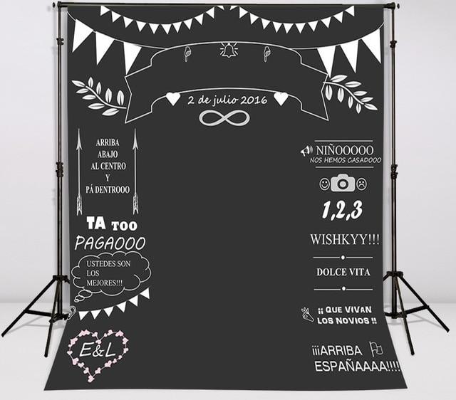 Custom wedding blackboard Name Date photocall photography Vinyl cloth Computer printed chalk background 7x5ft vinyl cloth cartoon photocall my