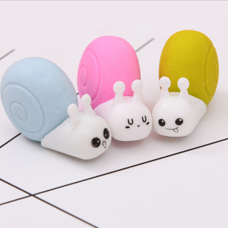 1X Small Snail Set Rubber Eraser Kawaii School Supplies Papelaria  Child Learning Stationery Materiale Correction Supplies