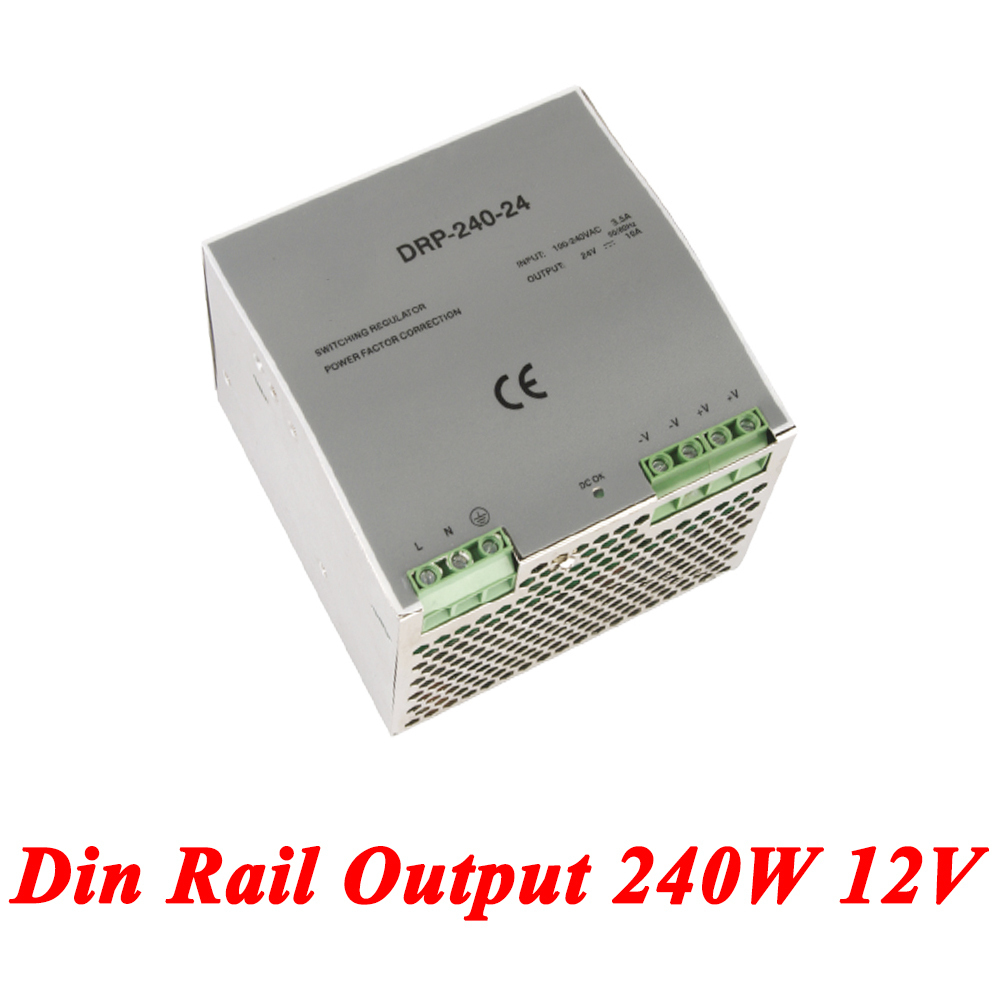 DR-240 Din Rail Power Supply 240W 12V 20A,Switching Power Supply AC 110v/220v Transformer To DC 12v,watt power supply dr 240 din rail power supply 240w 48v 5a switching power supply ac 110v 220v transformer to dc 48v ac dc converter