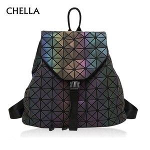 Image 1 - Femmes géométrique sac à dos lumineux femme sac de soirée diamant paillettes PU Laser sac à dos dame décontracté Plaid Bao Mochila BP0232