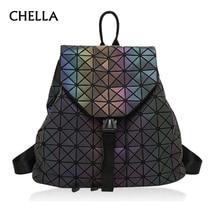Women Geometric Backpack Luminous Female Evening Bag Diamond Sequins PU Laser Back Pack Lady Casual Plaid Bao Mochila BP0232