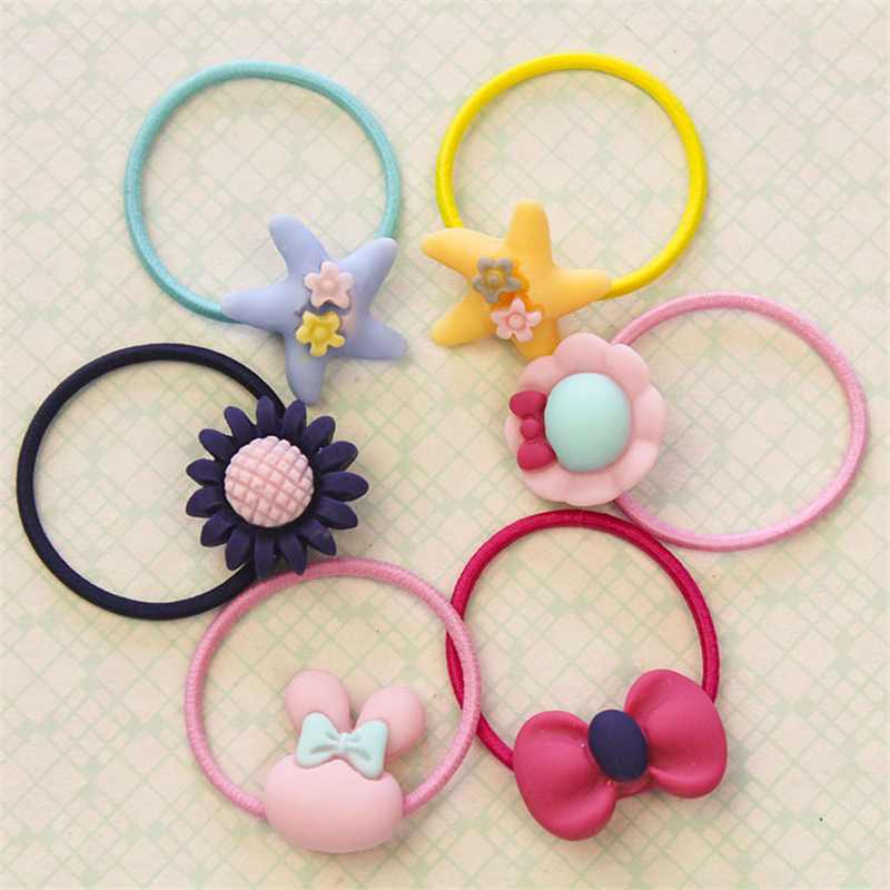 3Pcs Girls Fashion Elastic Rubber Hair Bands Kids Cartoon Ponytail Holders Headband Baby Lovely Mixing Elastic Hair Rings D0242