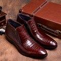 2017 новый Крокодил Зерна коричневый загар/черный мужские ботинки натуральная кожа с тиснением платье сапоги осенние мужские свадебные туфли