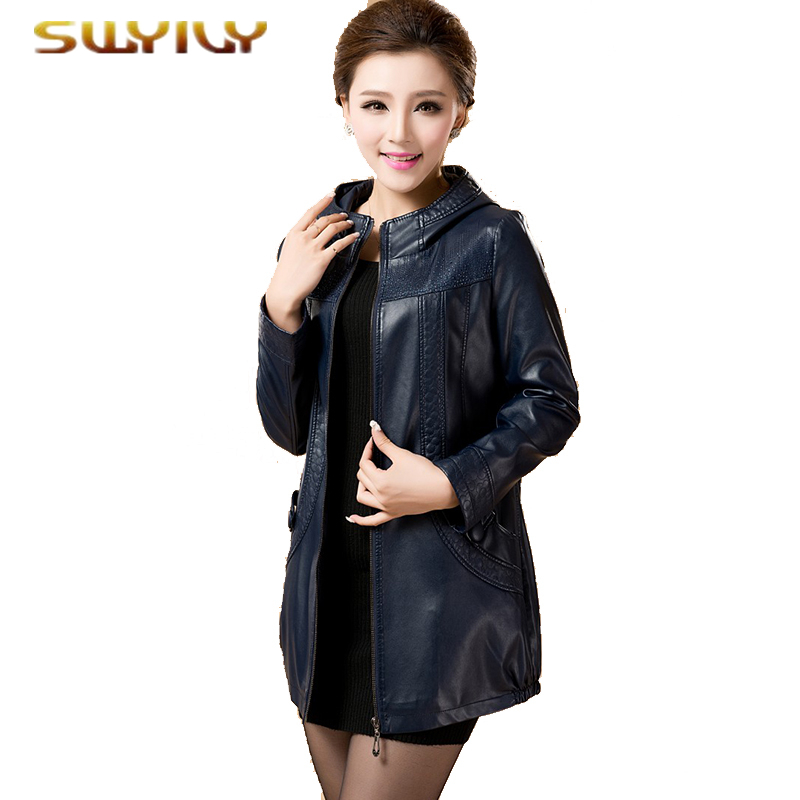 Leather Jacket Women Plus Size 5XL 6XL Autumn Medium-Long Genuine Leather Overcoat Slim  ...