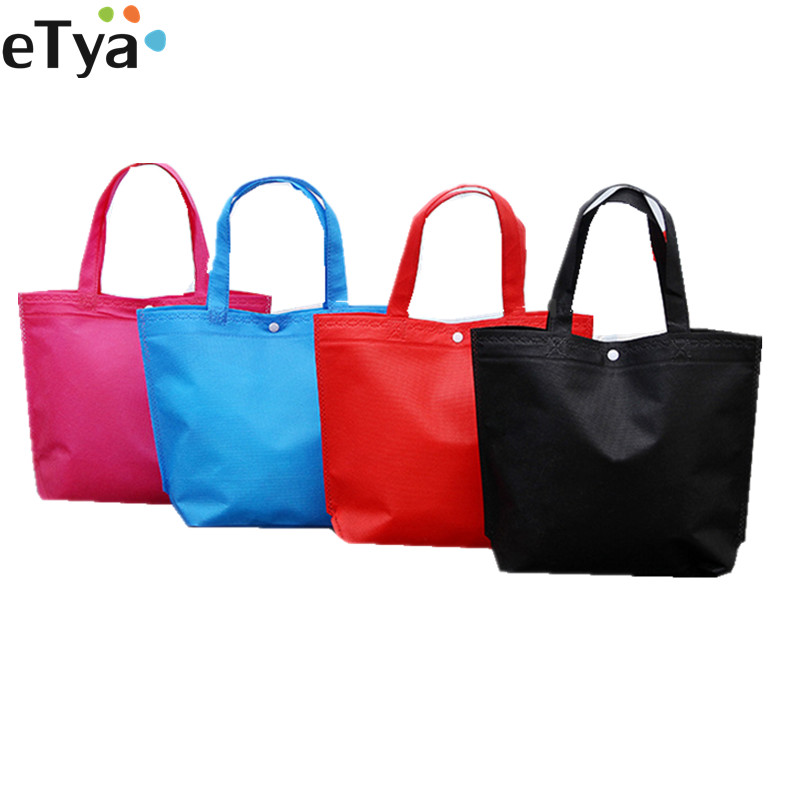 ETya Folding Tote Shopping Bag Women Men Casual Eco Reusable Shopping Pouch Case Travel Solid Handbag Shopper Bags