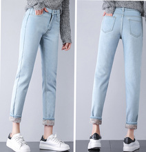 Winter Warm Jeans Women 2018 High Waist Cotton Casual Bodycon Vintage Velvet Ladies Trousers Female Pantalon Denim Pants