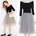 Elegant OL Dress Half sleeved Sweater Collar Knitted Dresses with Gauze Fake two piece Tulle Dress Bouffant Puffy Fashion