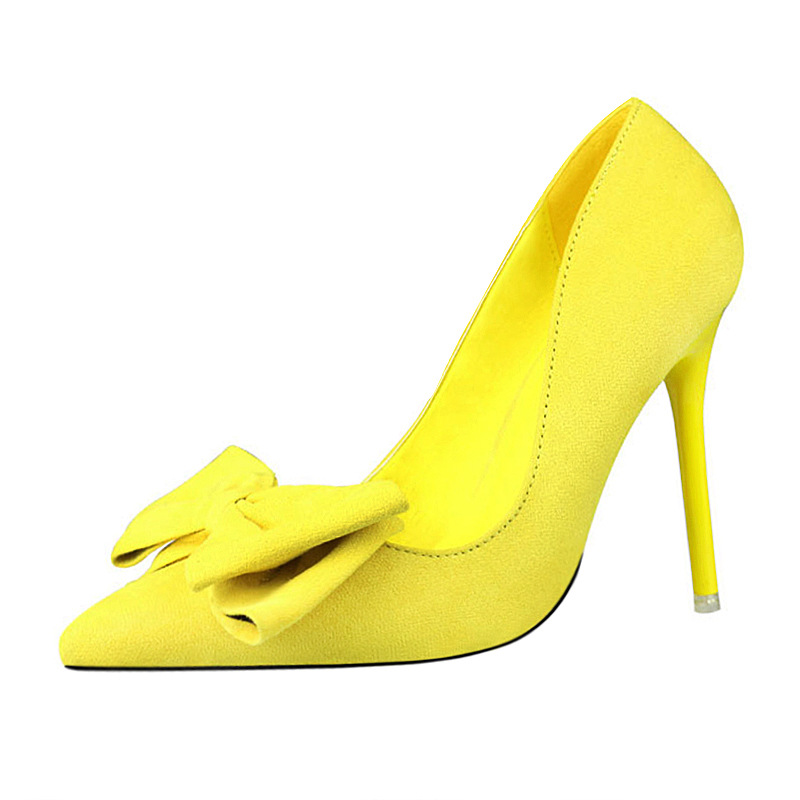 New fashion women thin high heels suede pointed toe pumps with butterfly knot