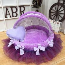 Comfortable pet sofa cradle dog bed overall washable luxury kennel round