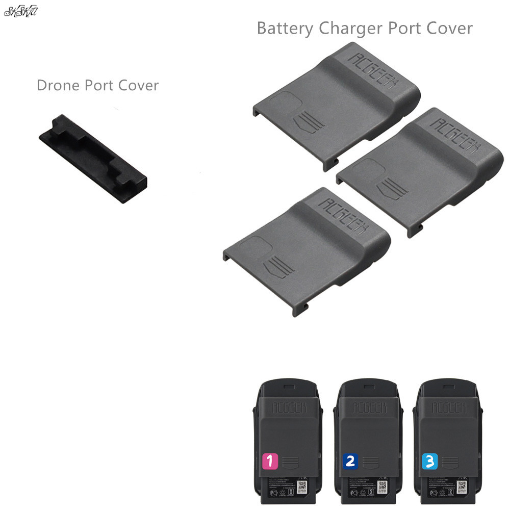 4pcs/set 1pcs Drone Port Cap + 3pcs Battery Charger Port Cover Board Dust-proof Short Circuits Protection Guard For  DJI SPARK