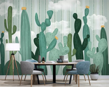 beibehang papel de parede Custom hand-painted cactus modern minimalist small fresh background wallpaper wall papers home decor