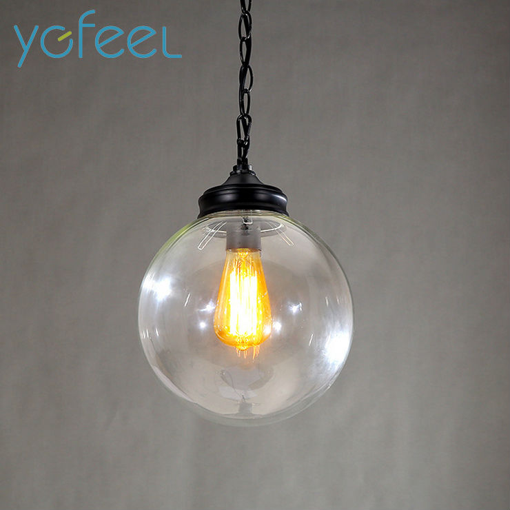 [YGFEEL] Retro Pendant Lights Spherical Black Spray Paint Transparent Glass Lampshade Restaurant Cafe Bar Lamps E27 Holder multifunctional fruit and vegetable processing peel cutter device green