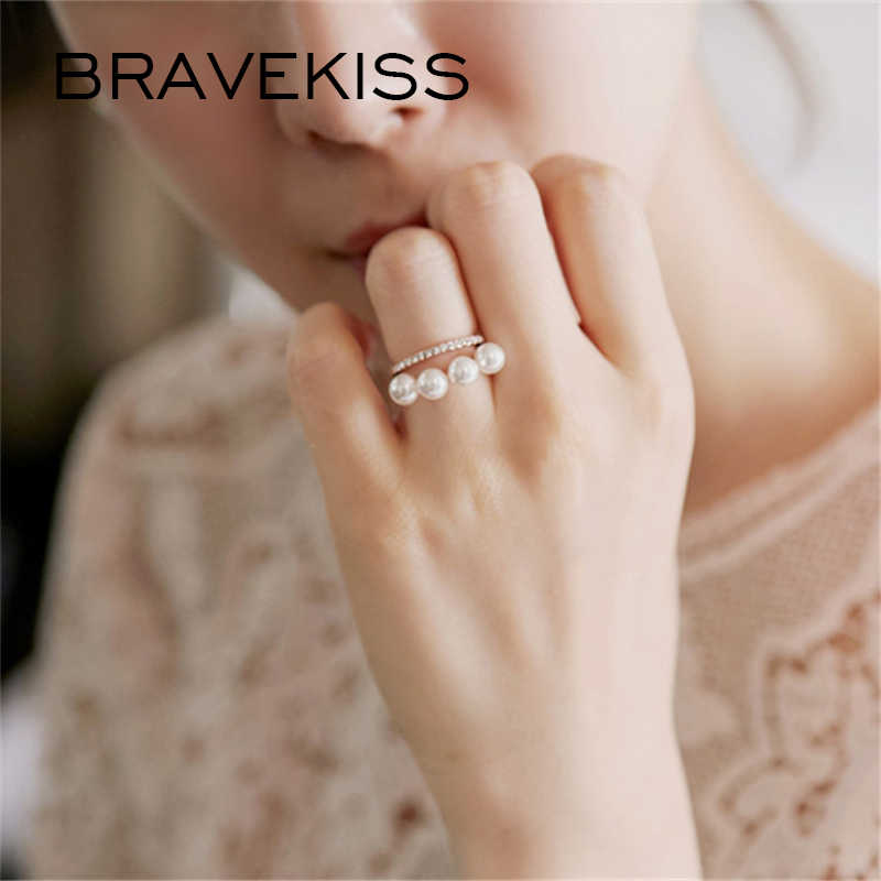 BRAVEKISS 2 Color Double Layer Elegant Simulated Pearl Rings Gold Silver Luxury CZ Stone Ring Fashion Jewelry For Women PR0199