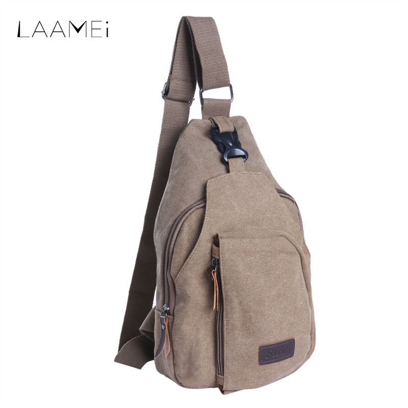 Laamei New Chest Bags Men Canvas Shoulder Messenger Bag Men Casual Crossbody Bags High Quality Shoulder Phone Small Square Bag