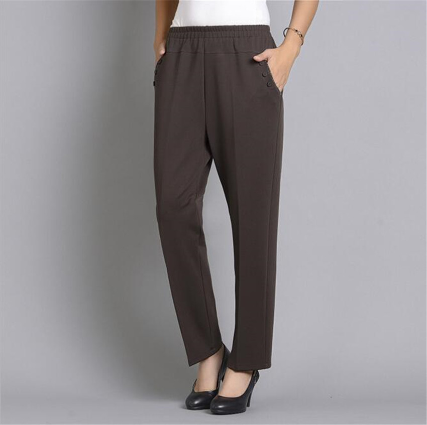 Mlcriyg повседневные штаны старый дамы мать с эластичной талией длинные штаны