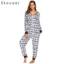 0768b59b6 Ekouaer Mulheres Fleece Pijama Macacão Pijamas De Natal Impressão de Manga  Longa Com Decote Em V do Sexo Feminino Casual Casa Ni.