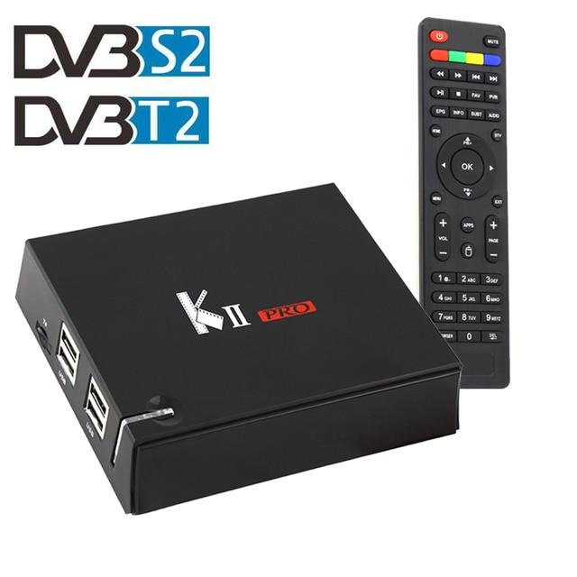 DVB-S2 DVB-T2 S905 KII POR Caixa De TV Amlogic Quad-core Android 6.0 Caixa de TV inteligente DVB T2/S2 2.4G/5.0G Dupla WiFi UHD 4 K Mídia jogador