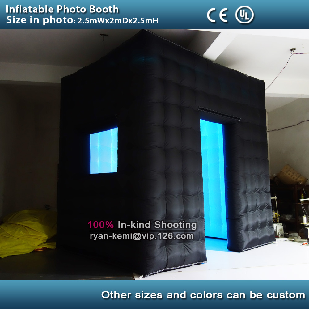цены Free shipping 2.5m LED lighting inflatable photo booth with window LED inflatable photo enclosure tent inflatable cube tent