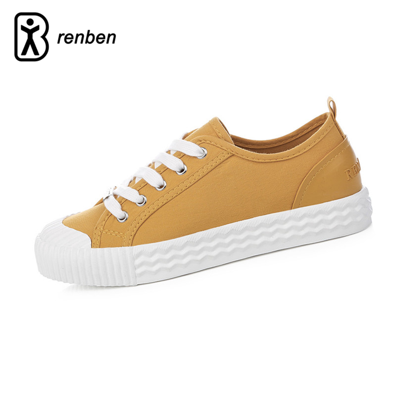 RenBen Flats Canvas Casual Shoes Women Fashion Lightweight Loafers Female Shoes Woman Creeper Lace-up Durable Rubber Shoes цена и фото