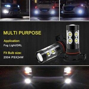 Image 5 - 2pcs PSX24W LED H16 H10 H11 H8 ערפל אור 9006 HB4 אוטומטי הנורה 880 881 50W LED הנורה רכב בשעות היום ריצת אור DRL מנורת 6000K לבן