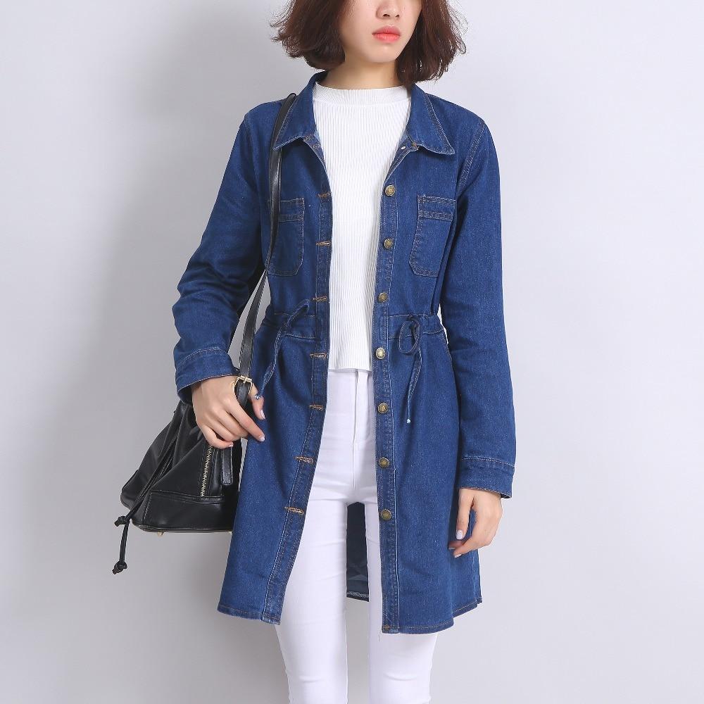 Yichaoyiliang Women Breasted Closure Long Denim Jacket with Adjustable Waist Korean Preppy Style Loose Slim Autumn Winter Coat