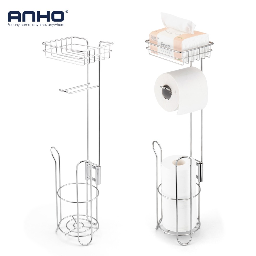 Bathroom Paper Holder Stainless Steel Toilet Paper Roll Dispenser Home Storage Shelf For Cell Phone