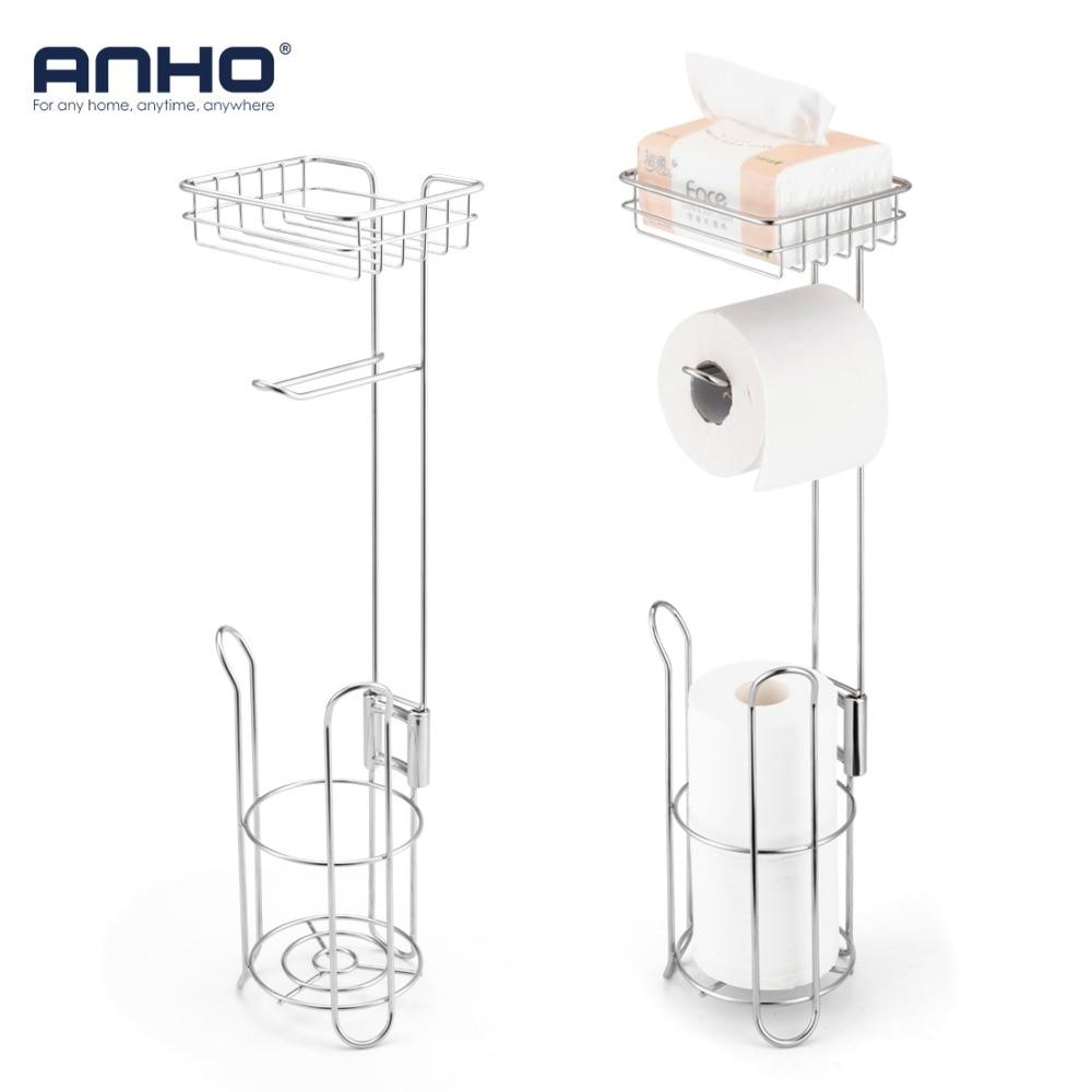 Bathroom Paper Holder Stainless Steel Toilet Paper Roll Dispenser Home Storage Shelf For Cell Phone