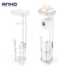 Toilet Paper Holder Stand Stainless Steel Bathroom Paper Roll Dispenser Home Storage Shelf for Cell Phone and Tissue