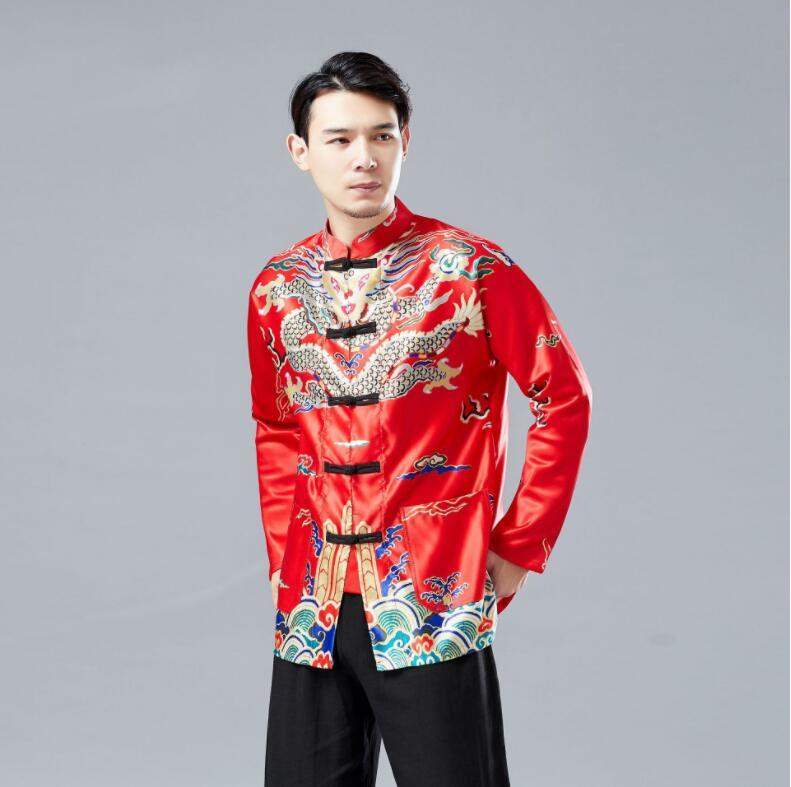Homme traditionnel style chinois Dragon robe chemise haute mâle rouge noir jaune Tang costume Vintage vêtements veste pour les chinois d'outre-mer