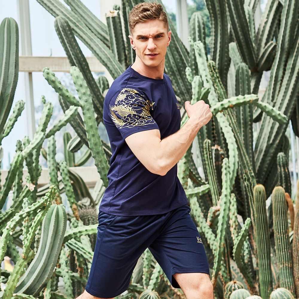 ASALI 男性は 2019 を設定夏生き抜くスリムフィットスウェットスーツメンズトラックスーツ Tシャツ + ショーツセットカジュアル男性トレーナースキニー弾性