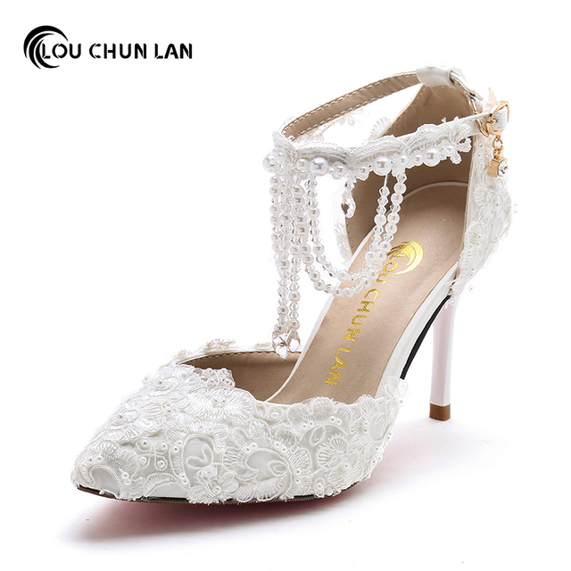 9818a95e65e0 Women Pumps Shoes Summer white pearl Crystal chain Wedding Shoes strap  pointed toe female Sandals 9cm Heel Free Shipping