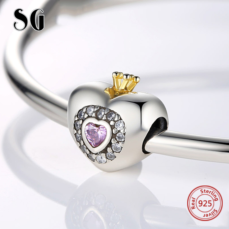 925 Sterling Silver Love Heart Beads Charms with crown Fit Authentic pandora Bracelets DIY Fashion Jewelry making For Lover Gift