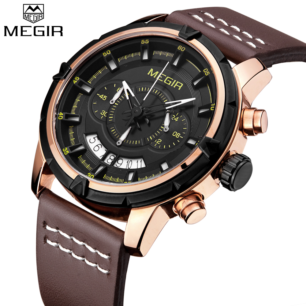MEGIR Casual Chronograph Mens Watches Top Brand Luxury Leather Gold Watch Men Quartz Sports Wrist watch Mens Relogio Masculino цена