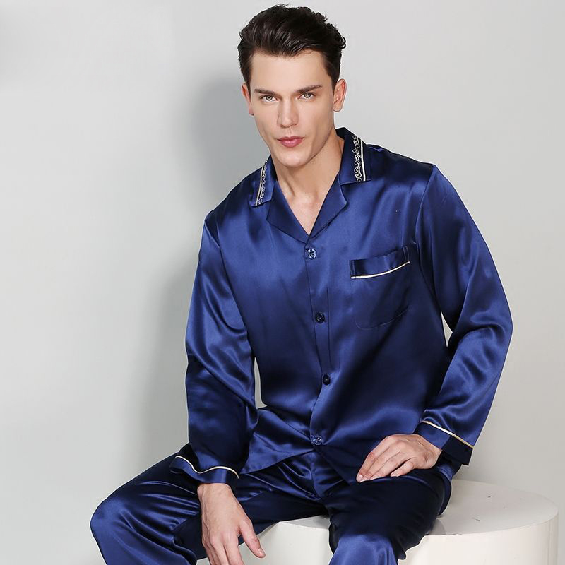 19 Momme 100% Genuine Silk Pajamas Sets Men Long Sleeve Quality Sexy Homewear Men Noble Simple Pure Silk Pijama Hombre