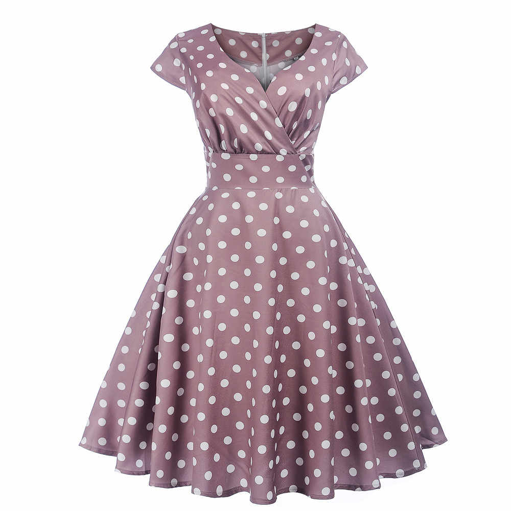 0ed6a3ab57f Summer dress 2019 Women Vintage Short Sleeve V Neck Ball Gown Dress Ladies Dot  Printing Party