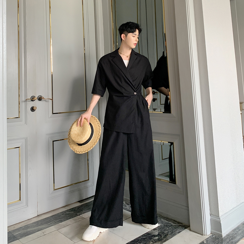Men Short Sleeve Casual Cotton Linen Jumpsuits Wide Leg Pants Male Women Japan Streetwear Vintage Pant Overalls Trousers