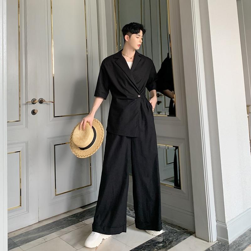 Men Short Sleeve Casual Cotton Linen Jumpsuits Wide Leg Pants Male Women Japan Streetwear Vintage Pant Overalls Trousers