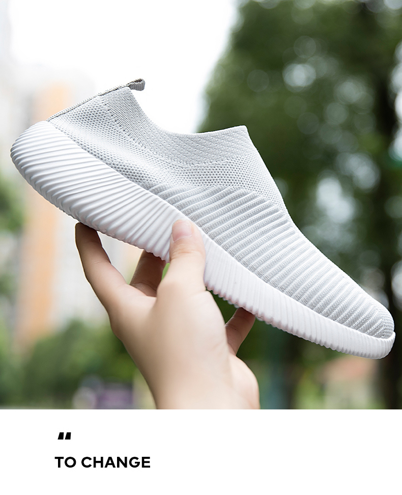 Slip On Flying Knit Women Fashion Sneakers Breathable Flat Heel Casual Shoes Round Toe Low Top Women Shoes XU034 (3)