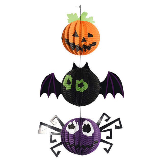 3pc Halloween Hangings Pumpkin Spider Bat Hallowmas 3d Honeycomb