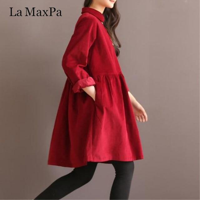 a713c3922e02ae Long Sleeve Loose Dress High Quality Vintage Women Dress Peter Pan Collar  Mori Girl 2019 New